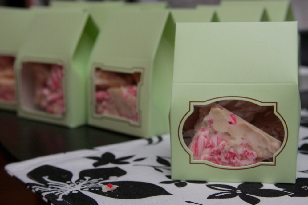 Peppermint chocolate bark gift boxes