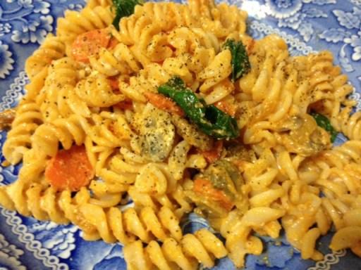 GD Meg's creamy vegan GF pasta w/ veggies