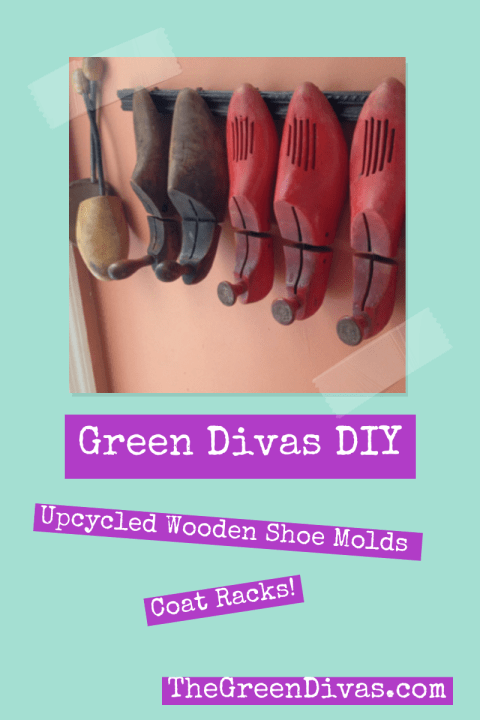 Green Divas DIY up cycled wooden shoe molds coat rack