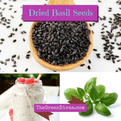 basil seed collage on the green divas