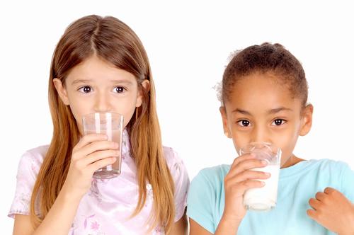 girls drinking milk
