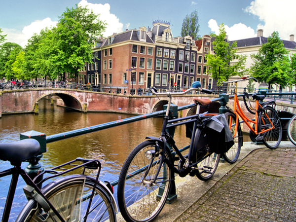 Amsterdam bicycles by water green cities