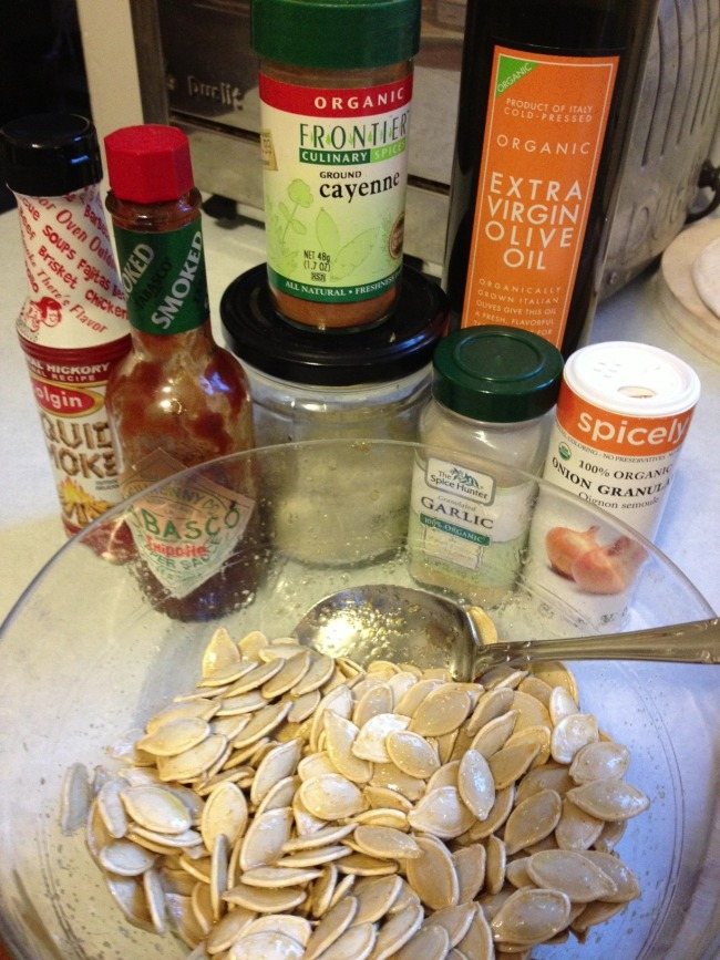ingredients for green diva meg's spicy roasted pumpkin seeds