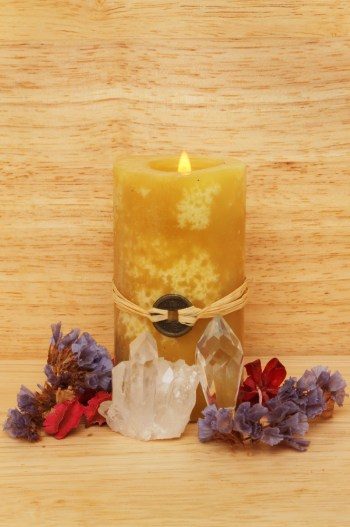 feng shui candle and crystals