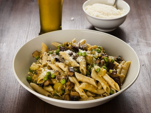 Eggplant-Portobello-Pasta-paired-with-American-Wheat-Ale-from-The-Ultimate-Beer-Lovers-Happy-Hour-by-John-Schlimm-Photo-b1