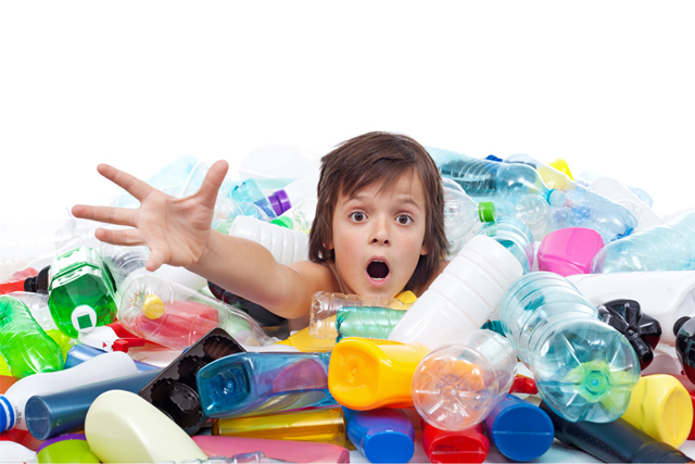 child drowning in plastic bottles