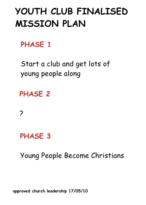 Three phase evangelism strategy. Phase one: get young people in Phase two: ? Phase three: Christians