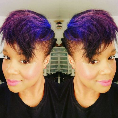 Purple Mohawk with Blue Roots