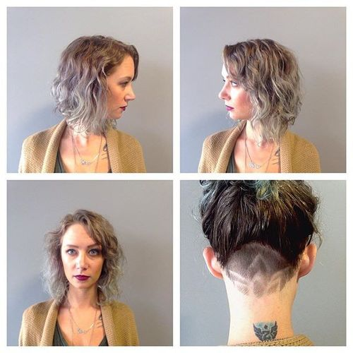 Top 40 awesome womens undercut hairstyle for short hair grey curved bob with shaved nape urmus Gallery