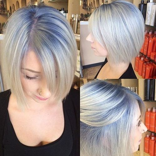 Blue to Grey Bob with Long Fringe