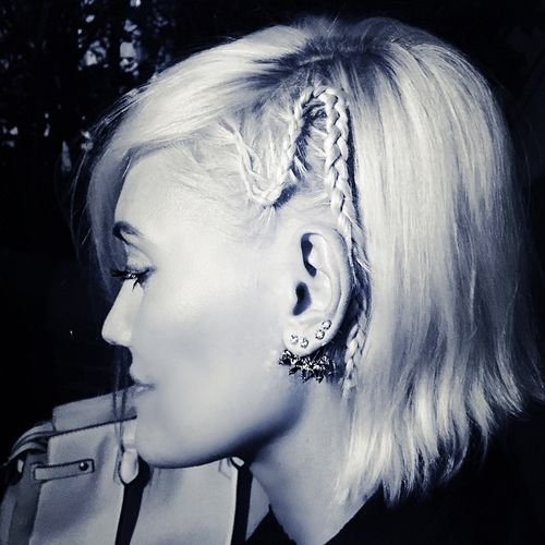 White Bob with a Little French Braid