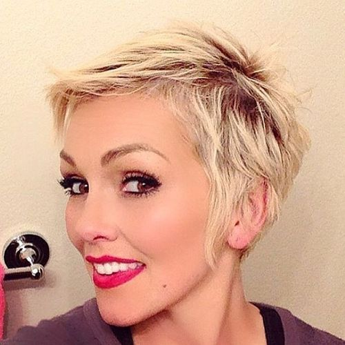 white haircut with oblique bangs