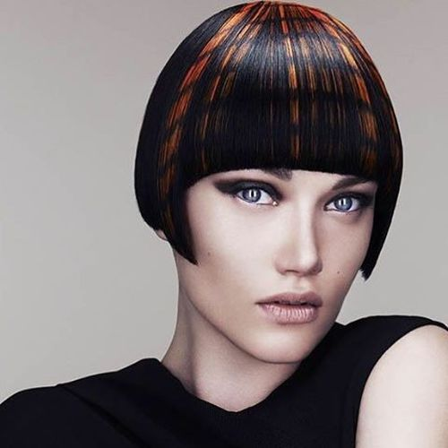 Black Bob with a Straight Orange Ringlets
