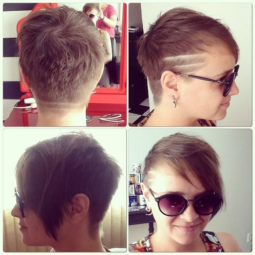 Dark Brown Pixie with Geometric Patterns on the Temple