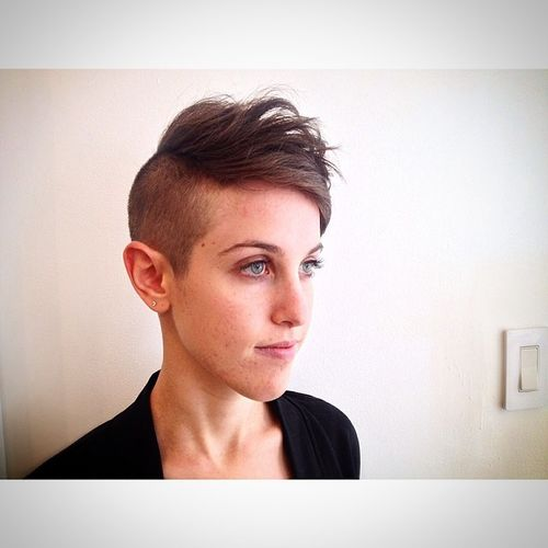 Dark Brown Pixie with Shaved One Side