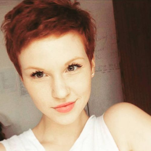 funny pixie haircut copper red