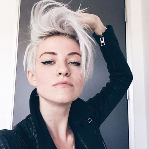 Cool White Pixie with Long Fringe