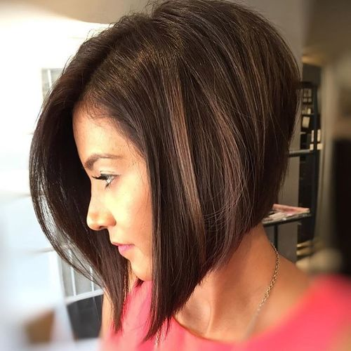 Classic Dark Brown Long Bob without Bangs