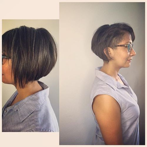 Black and Grey Bob with Shaved One Temple