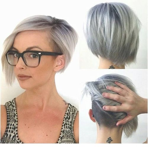 Light Grey Bob with Black Roots and Shaved Temple