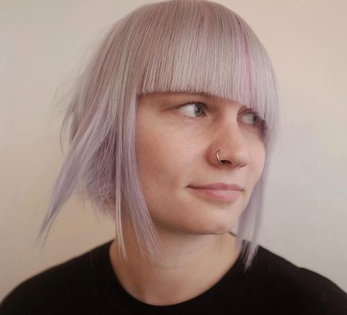 Stylish Light Pink with Asymmetric Bangs