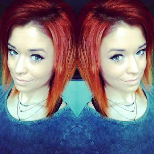 long red bob with dark roots