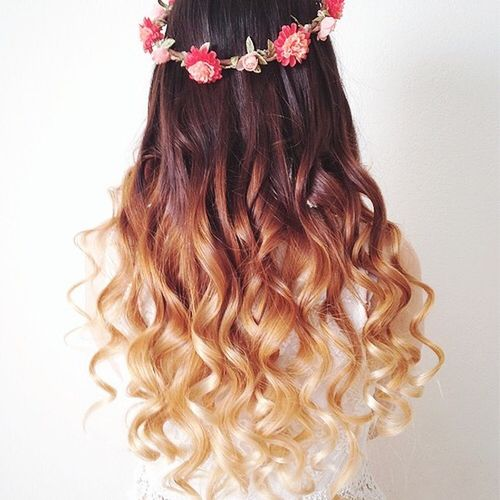 Lovely dark hair with blonde ombre for long hair