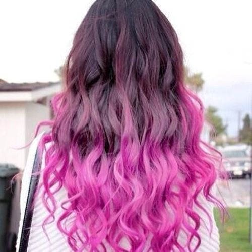 Pleasant dark long hair with pink ombre