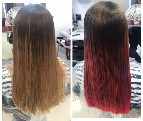 Dark brown long hair with rich pink ombre