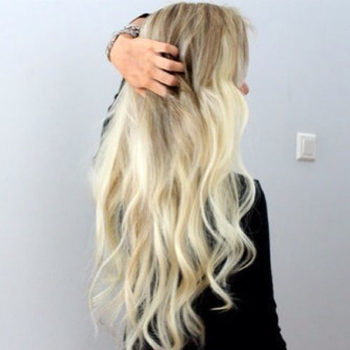 Light hair with blonde ombre for long hair