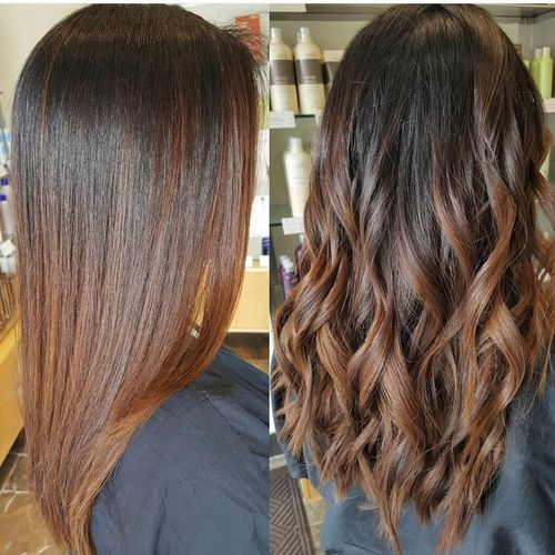 Grand hair with dark brown ombre