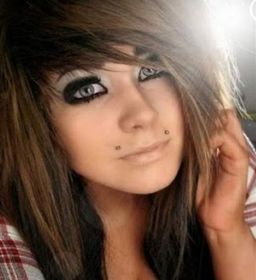 Brown cool emo hairstyles for girls