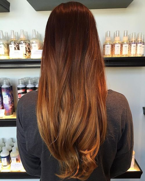 Exquisite long hair with light brown ombre