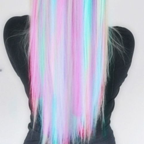 Light hair with neon rainbow ombre for long hair