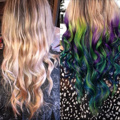 Light hair with purple, green and blue ombre for long hair
