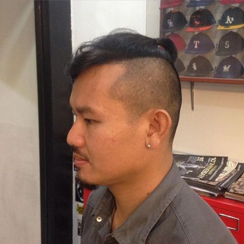 Ponytail Undercut with Disconnected Quiff for Asian Men