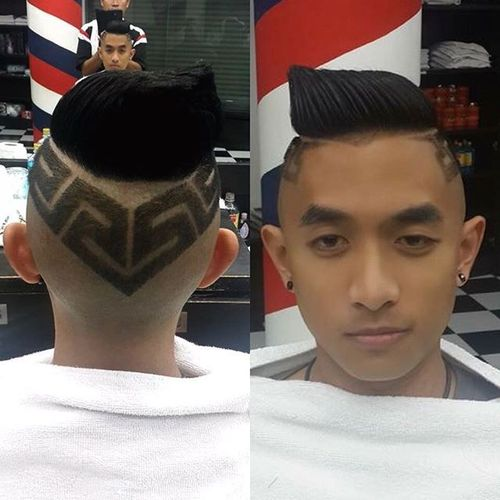 Undercut with Flame on the Top for Asian Men