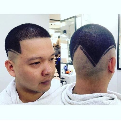 Asian Buzz Cut with Design