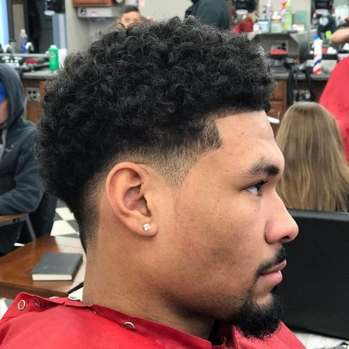 taper fade with curly hair