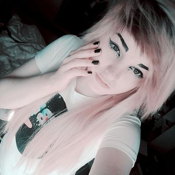 Fluffy short top and long pink bottom hair