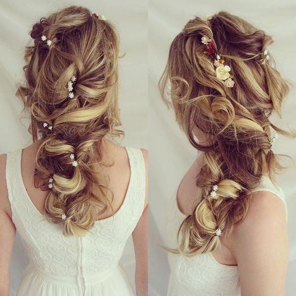 Messy Cascading Ponytail for Wedding