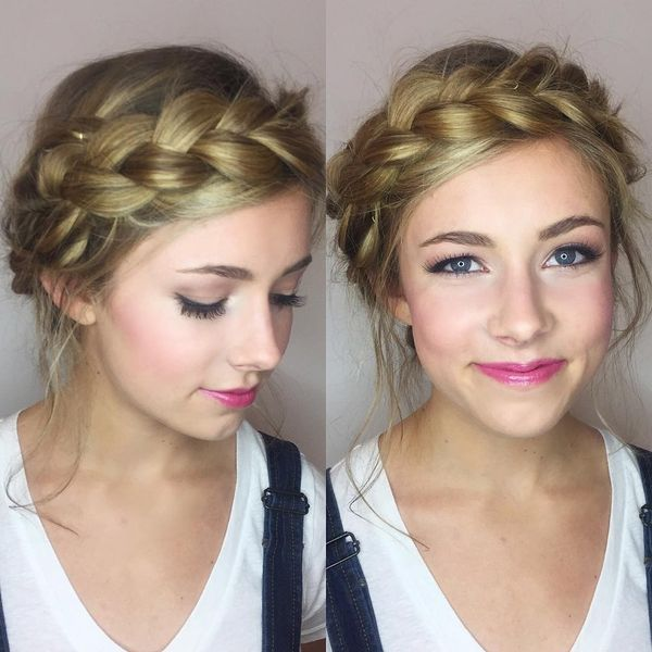 Dutch braid crown