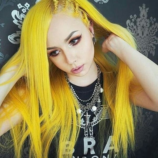 Long yellow hair with side plaits
