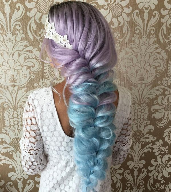 Extreme Dyed Braid for Bright Wedding
