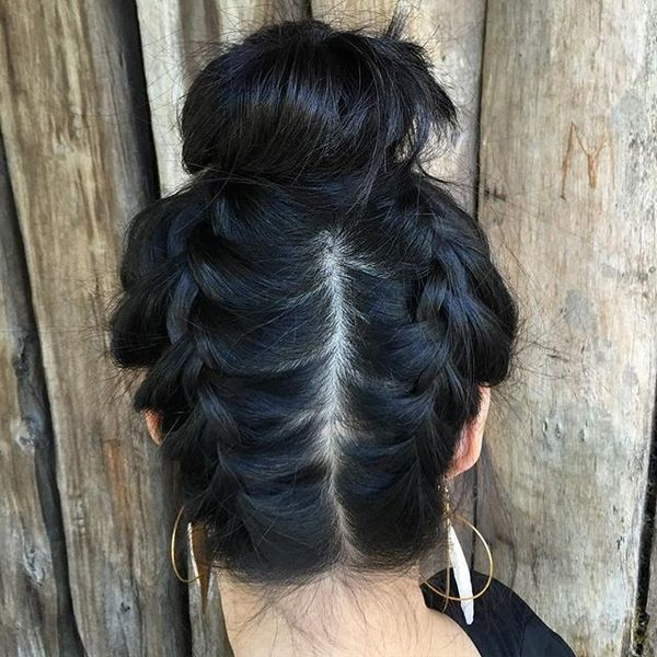 Upside Down Double Braid into a High Bun