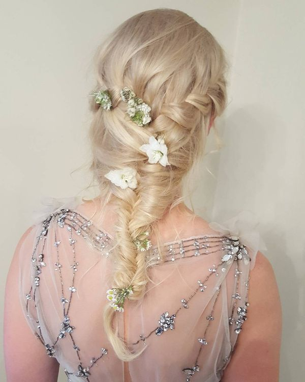 Waterfall Braid Floral Hairstyle