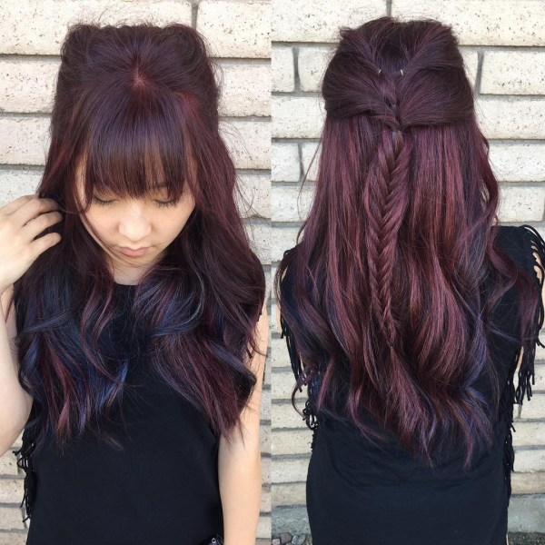 Burgundy hair with dark red purple and brown highlights braiding hair with blue highlights pmusecretfo Images