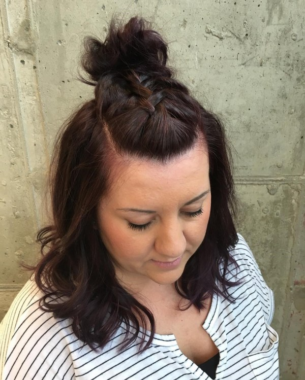 Dark red style with a braid on the top