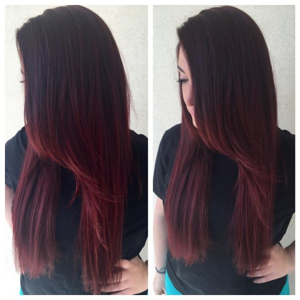 Burgundy hair with dark red purple and brown highlights deep burgundy with elongated oblique fringe pmusecretfo Gallery
