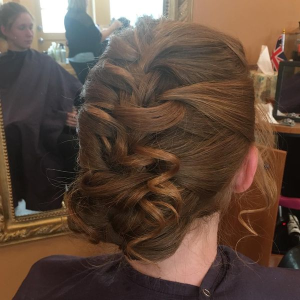 French braid on ginger locks